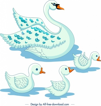 swans flock painting colored cartoon sketch