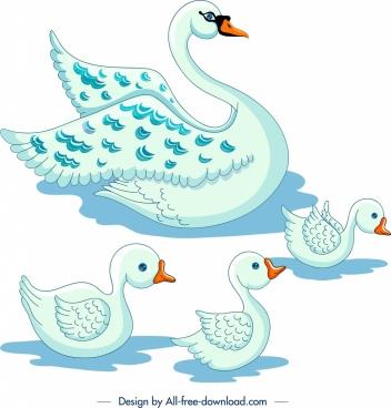 swans flock painting colored cartoon sketch