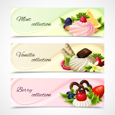 sweet and fruit vector banners graphics