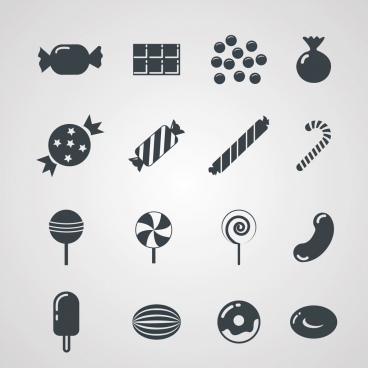 sweet candies cakes icons dark flat symbols design