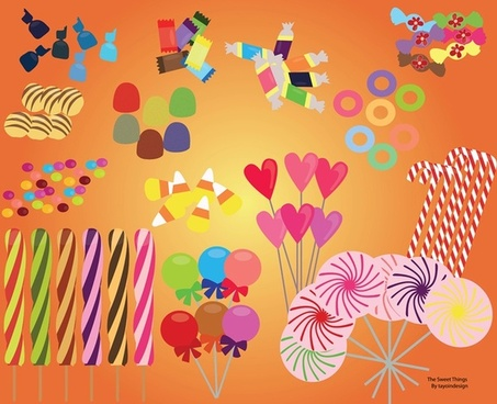 sweet candy set food vector