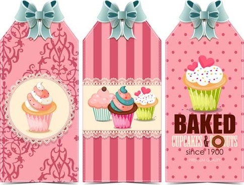 sweet cupcake with ribbon bow vector
