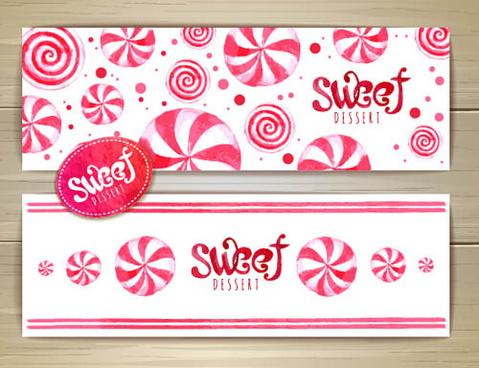 sweet dessert banners vectors set