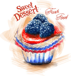 sweet dessert colored drawn vector