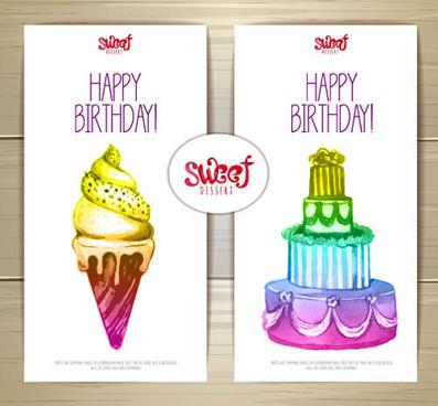 sweet dessert happy birthday cards vectors