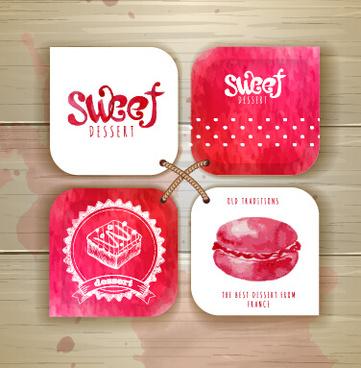 sweet dessert tags vectors