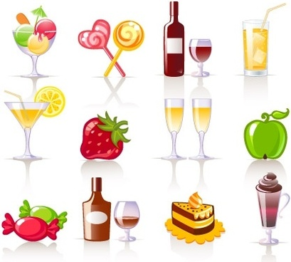 foods and beverages icons various colored styles