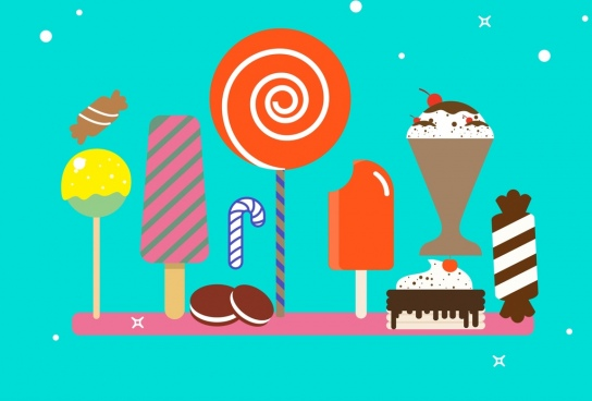 sweet food background colorful icons decoration