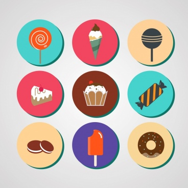 sweet food icons sets colored flat symbols isolation