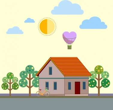 sweet home background house balloon heart icons