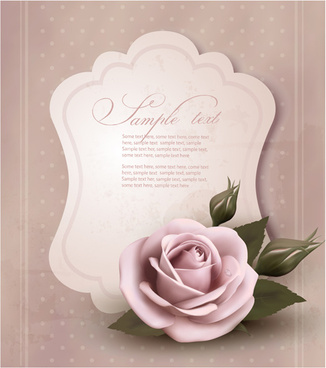 sweet rose invitations cards vector