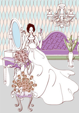 sweet wedding set0 vector