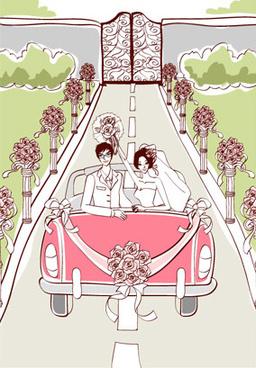 sweet wedding set1 vector