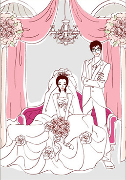 sweet wedding set2 vector