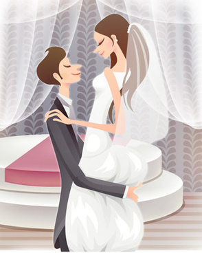 sweet wedding set vector