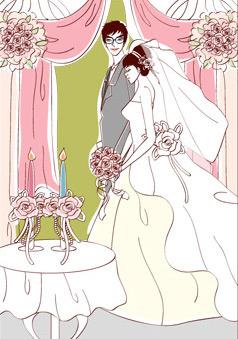 sweet wedding set vector