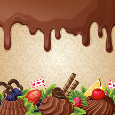 sweet with drop chocolate background set vector