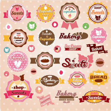 Sweet with ice cream labels cute design vector
