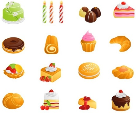 party design elements confectioneries candle icons multicolored 3d