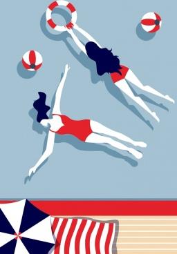 swimming background bikini women icons colored cartoon design