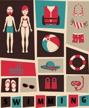 swimming design elements dark design various colored symbols