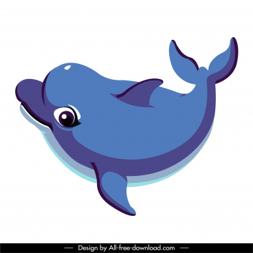 swimming dolphin icon motion sketch cute cartoon design
