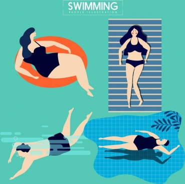 swimming human icons colored cartoon design