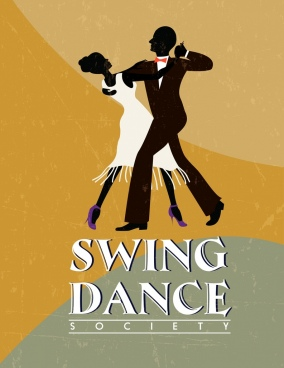 swing dance advertisement dancers icon silhouette retro design