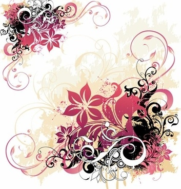 flowers background colorful curves decoration clssical grunge style