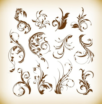 swirl floral graphics vector set