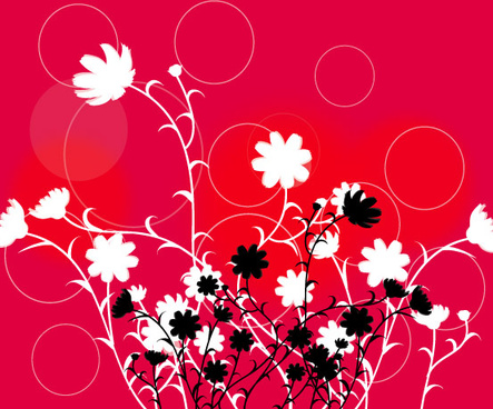 swirl flower in red background