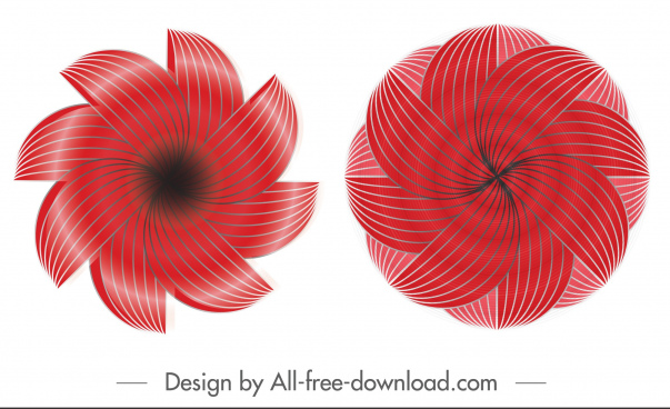 swirled petals icons shiny modern red symmetric illusion