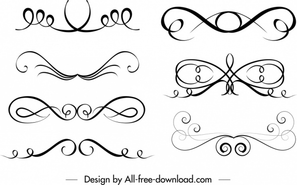 swirled shapes templates black white classical symmetric decor