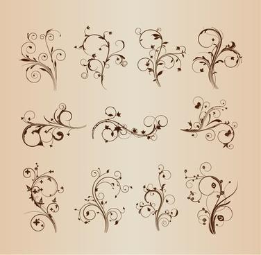 swirling flourishes decorative floral elements vector set