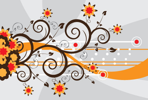 swirls flowers vector