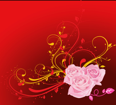 swirls flowers with red background