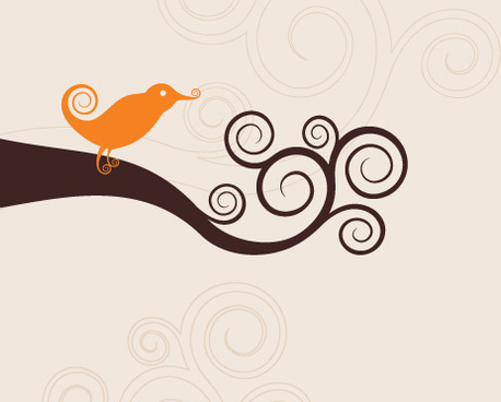 swirly bird vector graphic