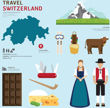 switzerland tourism elements vector