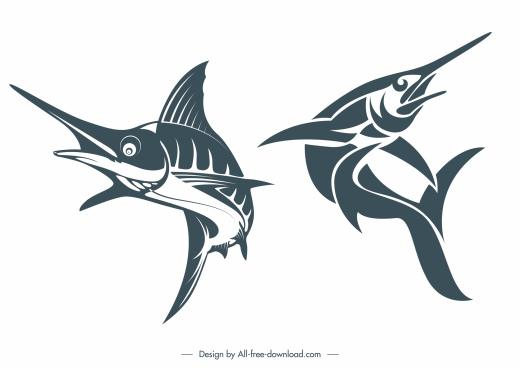 swordfish icons classic handdrawn sketch motion design