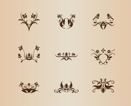 symmetrical floral element vector collection
