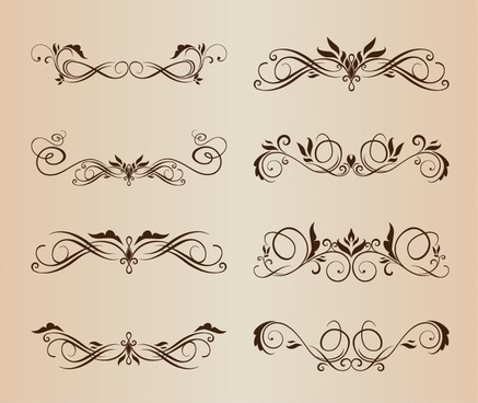 symmetrical swirl floral vector set