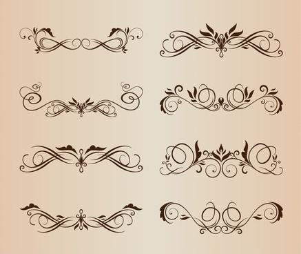 symmetrical swirl floral vector set