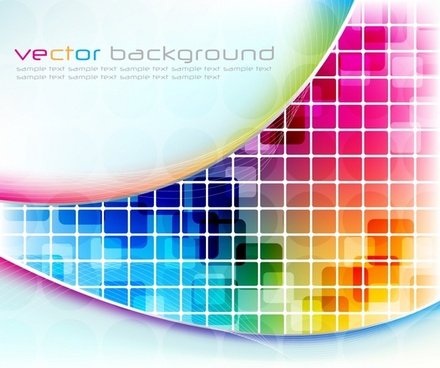 decorative background shiny colorful modern bright squares curves