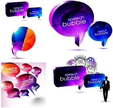 speech bubbles templates modern colorful 3d shapes