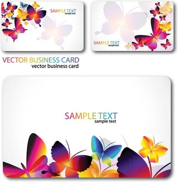 butterflies cards templates modern colorful blurred design
