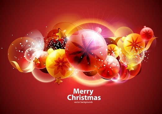 christmas background colorful sparkling floral bubbles decor