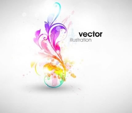 floral background colorful shining curves decor