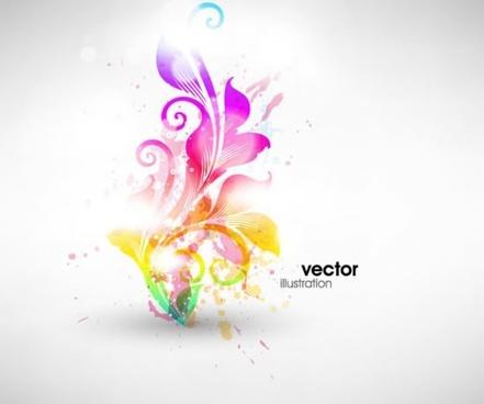 botany background shining colorful grunges swirled shapes