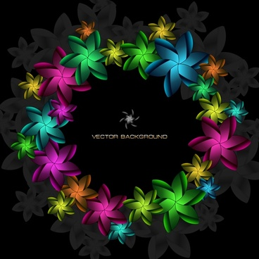 decorative background floral wreath icon dark colorful decor