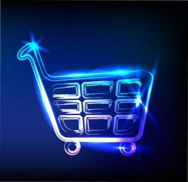 shopping cart background shining light effect flat design
